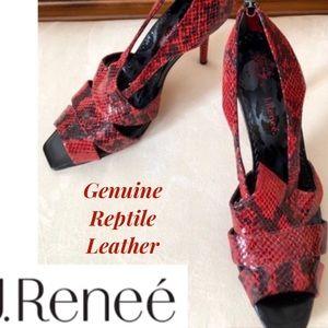 J Renee Heels 12 wide  Red Snake Leather